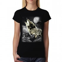 Wild Wolves Moon Women T-shirt XS-3XL New