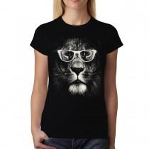 Lion Glasses Funny Animals Women T-shirt XS-3XL New