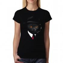 Cat Agent Animal Mafia Women T-shirt XS-3XL New