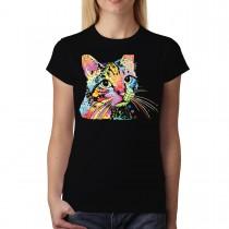 Dean Russo Cat Colourful Cubism Women T-shirt XS-3XL New