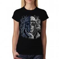Mystery Woman Death Skull Women T-shirt XS-3XL New