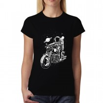 Astronaut Biker Space Ride Motorbike Womens T-shirt XS-3XL