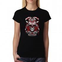 Bloody Skull Diamond Star Womens T-shirt XS-3XL