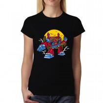 Boombox Robot Nightlife Womens T-shirt XS-3XL