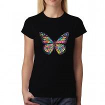 Butterfly Rainbow Colours Womens T-shirt XS-3XL