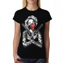 Marilyn Monroe Gangster Guns Tattoo Women T-shirt M-3XL