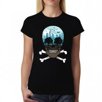 City Pollution Death Skull Womens T-shirt XS-3XL