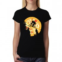 Pizza Moon Cyclist Womens T-shirt XS-3XL
