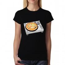 Gramophone Vinyl Record Turntable Pizza Womens T-shirt XS-3XL
