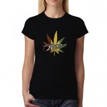 Rasta Leaf Marijuana Womens T-shirt XS-3XL