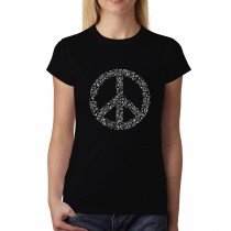 Peace Sign Music Note Clef Womens T-shirt XS-3XL