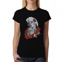 Marilyn Monroe Tattoo Roses Women T-shirt XS-3XL