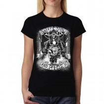 Skeleton Pig Rider Womens T-shirt M-3XL