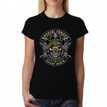 Special Forces Military Skull Womens T-shirt XS-3XL