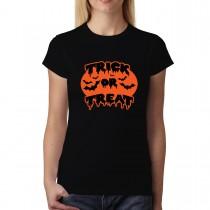 Trick or Treat Halloween Pumpkin Bats Womens T-shirt XS-3XL