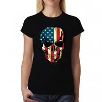 American Skull USA Womens T-Shirt XS-3XL