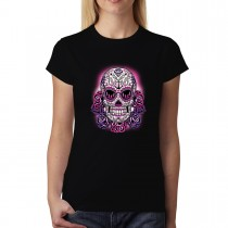 Pink Skull Violet Roses Womens T-shirt XS-3XL