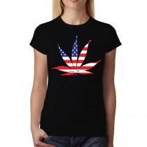 American Pot Leaf Weed Cannabis Women T-shirt XS-3XL New