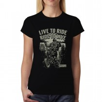 Motorcycle Live to Ride Biker Womens T-shirt XS-3XL