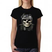 Military Skull Soldier War Women T-shirt XS-3XL New