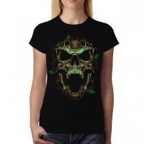 Thorn Skull Leaves Women T-shirt S-3XL New