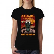 Atomic War End of the World Radiation Gas Mask Womens T-shirt XS-3XL