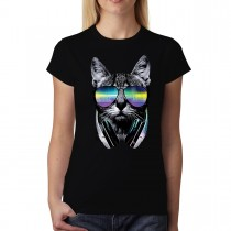 Cat DJ Headphones Womens T-shirt XS-3XL