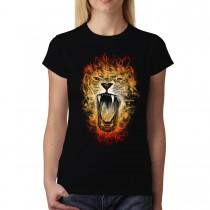 Lion Flames Inferno King Womens T-shirt XS-3XL