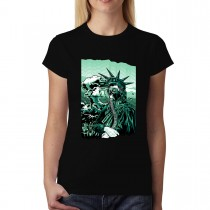 Statue Of Liberty Gas Mask Nuclear War Womens T-shirt XS-3XL