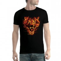 Flaming Wolf Scary Men T-shirt XS-5XL New