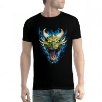 Green Dragon Face Flames Men T-shirt XS-5XL New