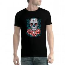 Skull Roses Cross Mens T-shirt XS-5XL