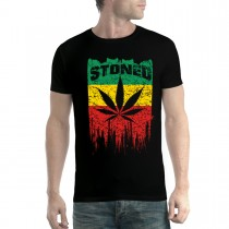 Rasta Flag Stoned Leaf Mens T-shirt XS-5XL