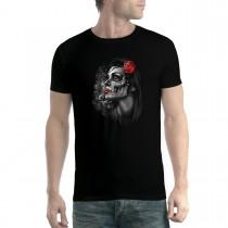 Rose Girl Skull Men T-shirt XS-5XL New