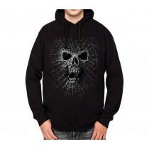 Black Widow Spider Web Skull Mens Hoodie S-3XL