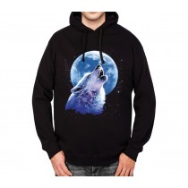 Howling Wolf Moon Midnight Mens Hoodie S-3XL