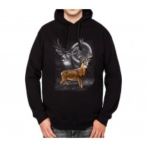 Deer Moonlight Mens Hoodie S-3XL