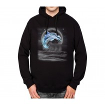 Dolphin Jumps Out Full Moon Mens Hoodie S-3XL