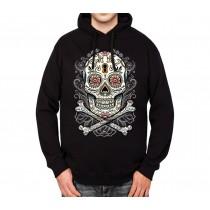 Floral Skull Mens Hoodie S-3XL