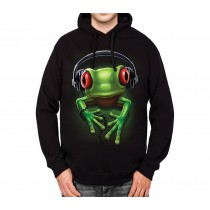 Frog Rock Headphones Music Mens Hoodie S-3XL