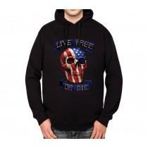 Skull America Live Free Die Mens Hoodie S-3XL