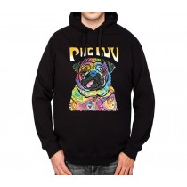 Pug Dog Love Mens Hoodie S-3XL