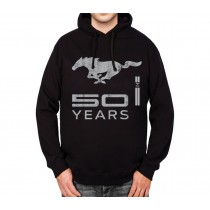 Ford Mustang 50 Years Silver Mens Hoodie S-3XL