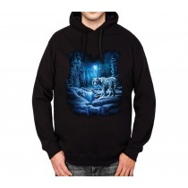 White Tiger Snow Forest Mens Hoodie S-3XL