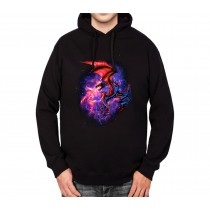 Dragon Space Fight Mens Hoodie S-3XL