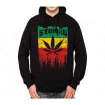 Rasta Flag Stoned Leaf Mens Hoodie S-3XL