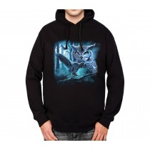 Owl Moon Night Mens Hoodie S-3XL