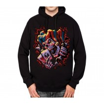 Joker Skull Cards Clown Mens Hoodie S-3XL