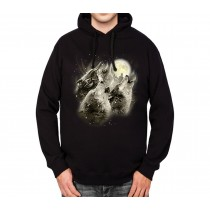 Wolves Howl Full Moon Mens Hoodie S-3XL