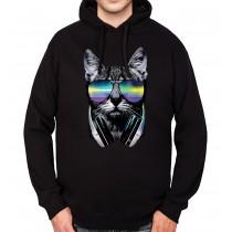 DJ Cat Headphones Mens Hoodie S-3XL